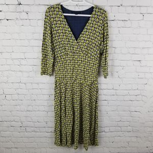 BODEN | double layer faux wrap v-neck dress